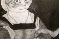猫夫人(写生 鉛筆画)